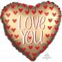 Heart Satin Gold Jumbo Love You Shaped Balloon 71cm
