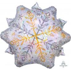 Christmas Junior Holographic Shining Snowflake Foil Balloon 45cm