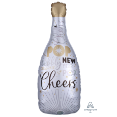Bubbly Bottle SuperShape XL Celebrate The New Year Cheers Shaped Balloon 35cm x 91cm