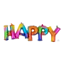 Rainbow Happy Birthday CI: Script Phrase happy Shaped Balloon 76cm x 25cm