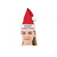 Red Santa Felt Hat Merry Christmas! Head Accessory One Size Fits Most
