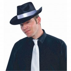 Great 1920's Party Supplies - Satin Gangster Hat with White Trim