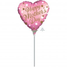 Heart Satin Infused Happy Mother's Day Shaped Balloon 22cm