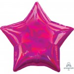 Star Iridescent Magenta Standard Holographic Shaped Balloon 45cm