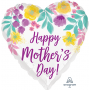 Heart Standard HX Watercolour Flowers Happy Mother's Day! Shaped Balloon 45cm