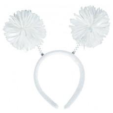 White Pom Pom Headbopper Head Accessory 22.8cm x 11.4cm