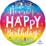Round Standard Holographic Hip Hip Hooray Happy Birthday Foil Balloon 45cm