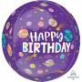 Orbz XL Smiling Galaxy Happy Birthday! Shaped Balloon 38cm x 40cm