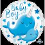Round Baby Shower - General Standard HX Narwhal Baby Boy Foil Balloon 45cm