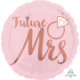 Round Bridal Shower Blush Wedding Standard HX Future Mrs Foil Balloon 45cm
