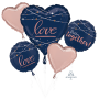 Bridal Shower Navy Bride Bouquet Better Together! Foil Balloons Pack of 5