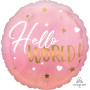 Round Pink Oh Baby Girl Standard HX Hello World! Foil Balloon