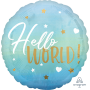 Round Blue Oh Baby Boy Standard HX Hello World! Foil Balloon