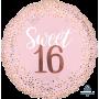 Round 16th Birthday Sweet Sixteen Blush Jumbo HX Foil Balloon 71cm