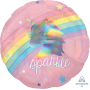 Round Magical Rainbow Unicorn Standard Holographic Sparkle Foil Balloon 45cm