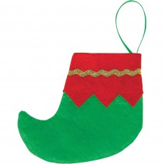 Christmas Party Decorations - Mini Elf Boots Felt Stockings