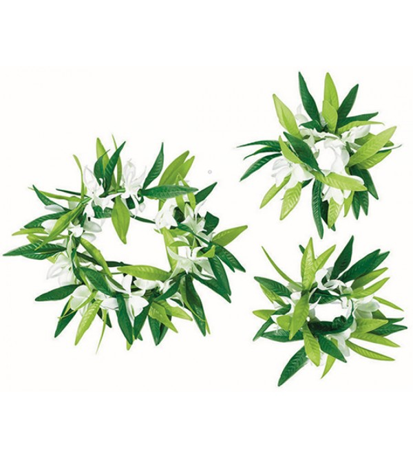 Green Leaf with Flowers Head Wreath & Wristlets Set Costume Accessories Pack of 3