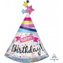 Hat Sparkle Banner SuperShape Holographic Happy Birthday! Shaped Balloon 68cm x 91cm