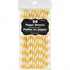 Yellow Straws 20cm Sunshine Yellow Pack of 24 with White Stripes