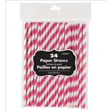 Bright Pink with White Stripes Straws 20cm Pack of 24
