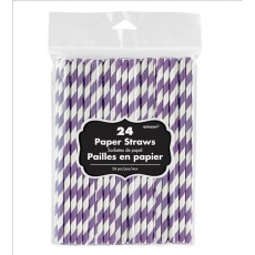 New Purple & White Stripes Paper Straws 19.68cm x 0.63cm Pack of 24