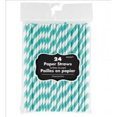 Robin's Egg Blue Dots & Stripes with White Stripes Straws 19.68cm x 0.63cm Pack of 24