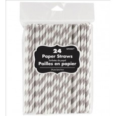 Silver Straws 20cm Pack of 24 with White Stripes