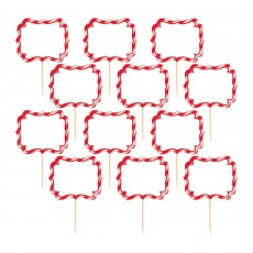 Christmas Label Party Picks 8cm Pack of 24