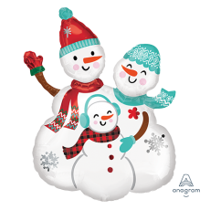 Christmas Party Decorations - Shaped Balloon Snowmen Family Group