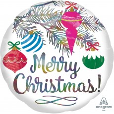 Round Standard Holographic Ornaments Iridescent Merry Christmas! Foil Balloon 45cm