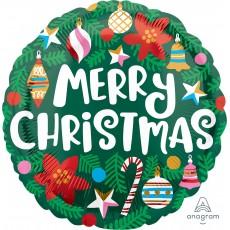 Standard HX Pine Leaves & Ornaments Merry Christmas Foil Balloon 45cm