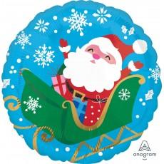 Round Christmas Standard HX Happy Santa in Sleigh Foil Balloon 45cm