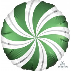 Emerald Green Christmas Standard XL Candy Cane Swirls Foil Balloon 45cm