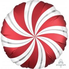 Sangria Red Christmas Standard XL Candy Cane Swirls Foil Balloon 45cm