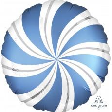 Azure Blue Christmas Standard XL Candy Cane Swirls Foil Balloon 45cm