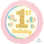 Round Pink & Gold Girl's 1st Birthday Standard HX Foil Balloon 45cm