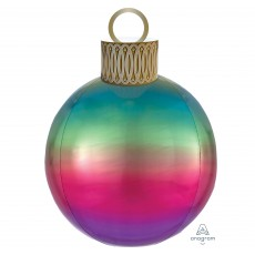 Christmas Party Decorations - Shaped Balloon Orbz & Ornament Ombre Rainbow