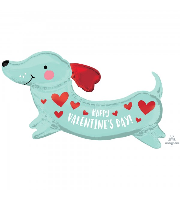 SuperShape XL Weiner Sausage Dog Happy Valentine's Day Shaped Balloon 93cm x 50cm