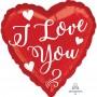 Heart Standard HX White Script I Love You Shaped Balloon 45cm