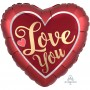 Heart Satin Sangria & Gold Jumbo HX Love You Shaped Balloon 71cm