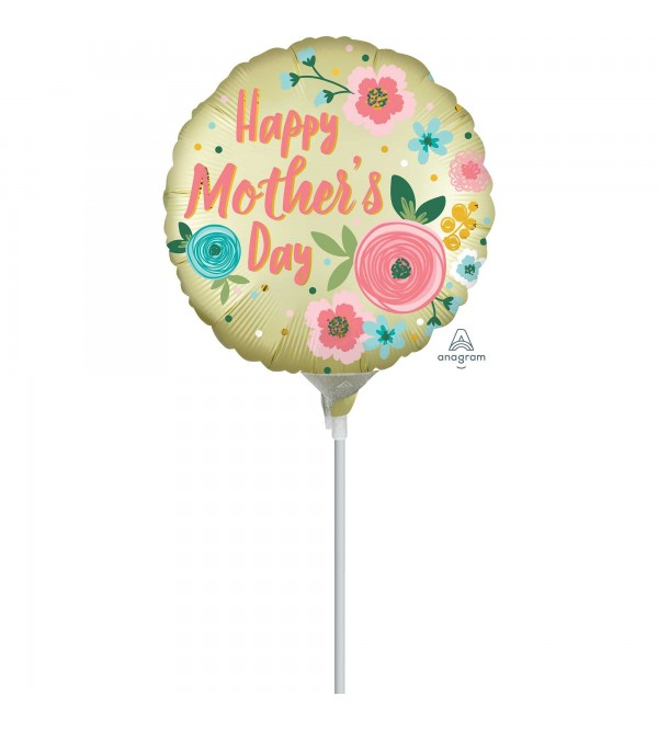 Round Satin Infused Pastel Yellow Happy Mother's Day Foil Balloon 10cm