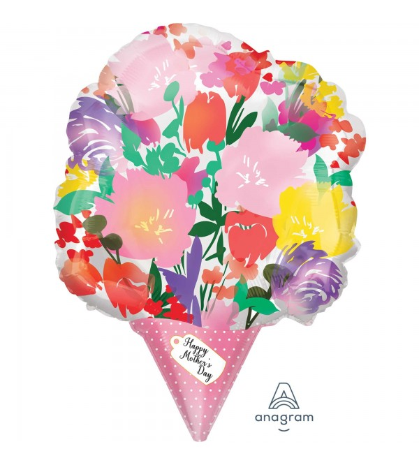 Shape XL Watercolour Flower Bouquet Happy Mother's Day Shaped Balloon 35cm x 45cm