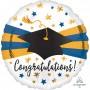 Round Graduation Jumbo HX Blue & Gold Congratulations! Foil Balloon 71cm