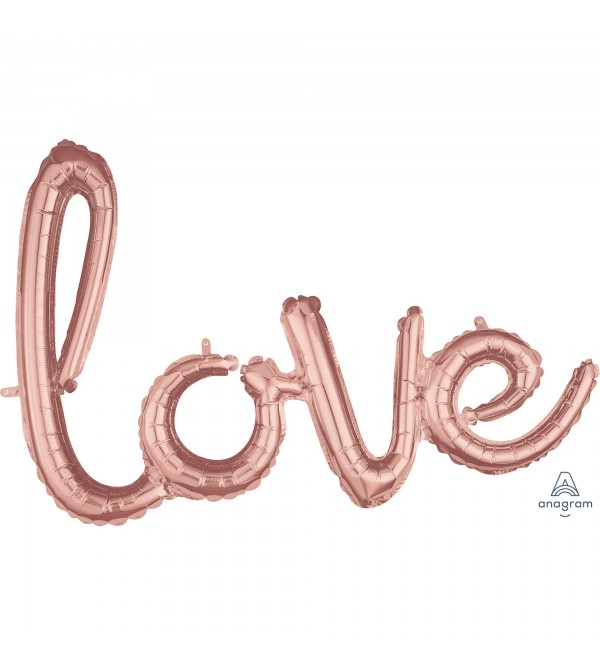 Rose Gold Love CI: Phrase Shaped Balloon