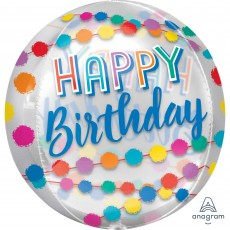 Orbz XL Clear Happy Birthday Rainbow Puffs Shaped Balloon 38cm x 40cm