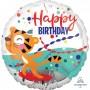 Round Happy Birthday Standard HX Tiger Foil Balloon 45cm
