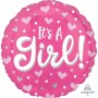 Round Baby Shower - General Standard HX Hearts & Dots It's A Girl! Foil Balloon 45cm