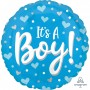 Round Baby Shower - General Standard HX Hearts & Dots It's A Boy! Foil Balloon 45cm