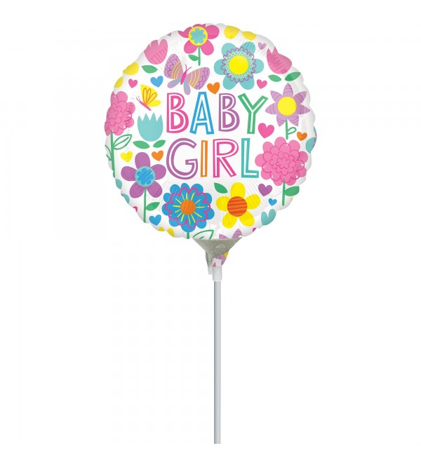 Baby Shower Party Decorations - Foil Balloon Floral Butterfly Baby Girl