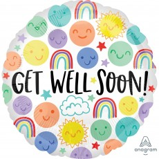 Get Well Party Decorations - Foil Balloon Happy Doodles Get Well Soon!